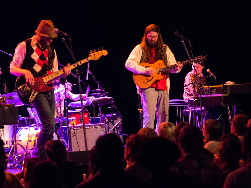 Musician Matthew E. White (right) and his seven-piece band opened the concert.