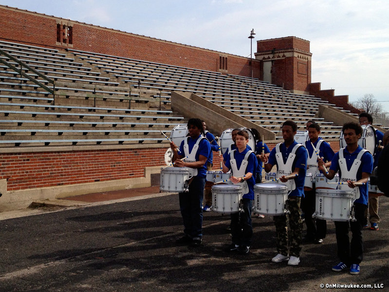 The incredible Rufus King drumline entertained those on hand for the groundbreaking Thursday morning.
