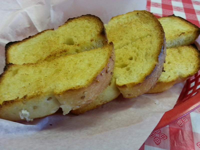 The Texas toast-style garlic bread was unique and flavorful.