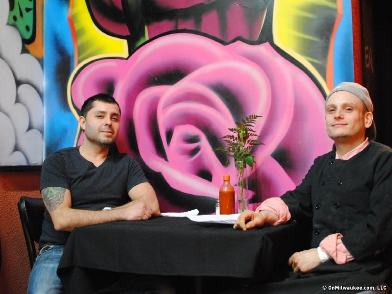 Owner Roman Torrez (left) and chef Jeremy Hoch take five.