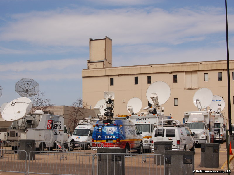 The northeast corner of the Bradley Center has become a compound for television trucks.