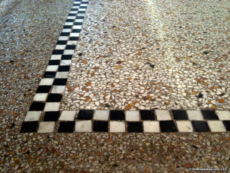 The terrazzo is also eye-catching and the checkerboard tiles add a regal flair.