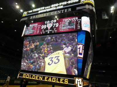 Bradley Center unveils new scoreboard Image