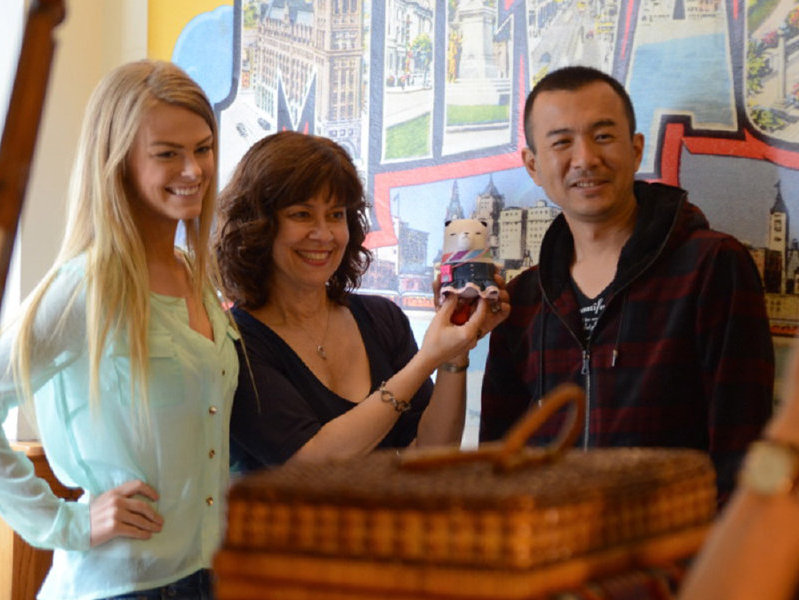 "Destiny Caithamer, Patrice Procopio and director Mr. Morikami produce a segment for Japanese variety show ""Nijiiro Jean"" in Milwaukee"