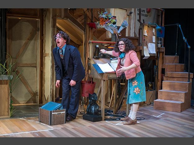 "Gerard Neugent and Sara Zientek star in the Rep's production of ""Noises Off."""