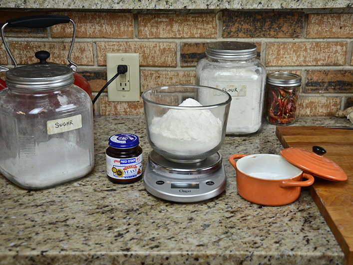The ingredients for our no-knead pizza dough.