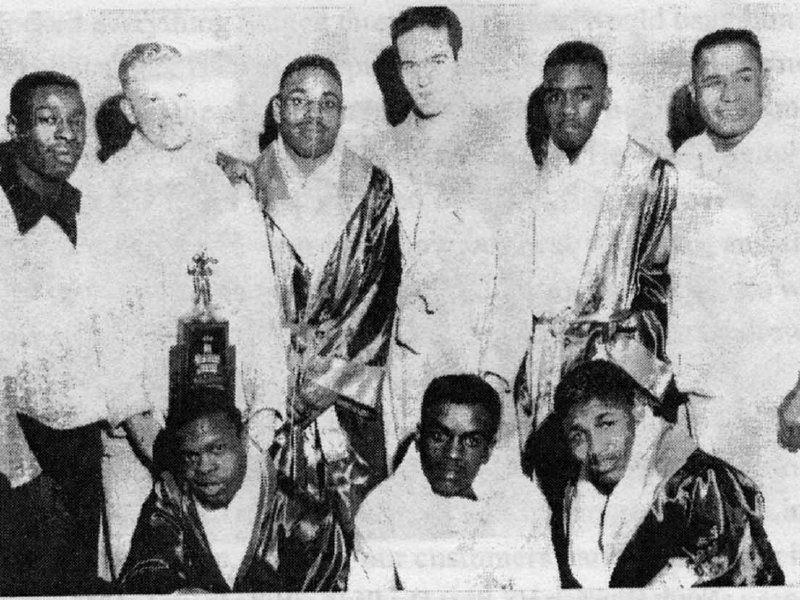 The Urban League boxing team in 1953 when Norman Johnson, standing second from right, won his first state Golden Gloves title.