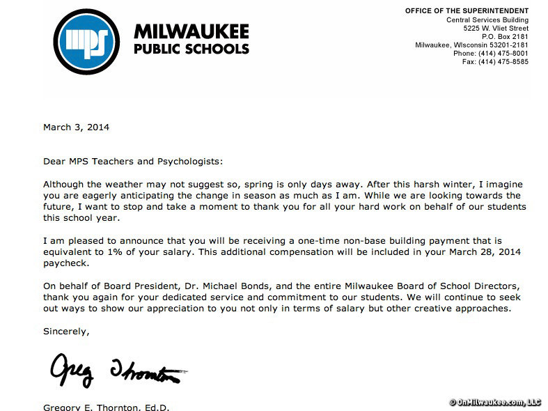 Teachers received this letter yesterday. Today, the MTEA responded.