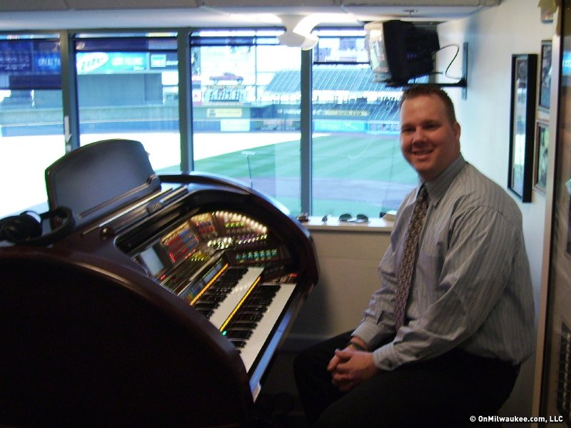 Miller Park organist Dean Rosko in the driver's seat.