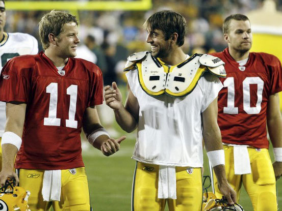 Brian Brohm (left) and Matt Flynn (right) will be in the spotlight Monday along with Aaron Rodgers.