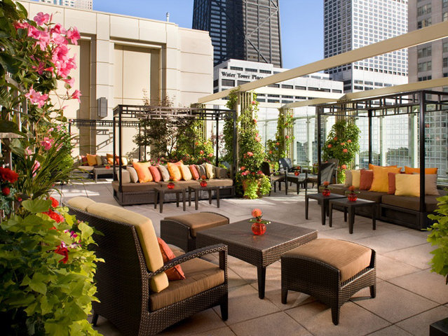 The rooftop terrace at The Peninsula offers spectacular views. You can dine out here, too, at Shanghai Terrace.