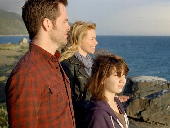 "Chris Pine, Elizabeth Banks and Michael Hall D'Addario star in ""People Like Us."""