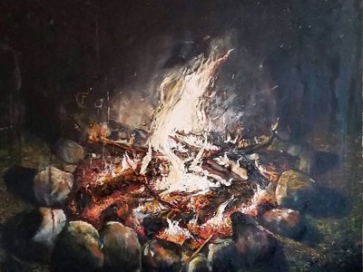 A painting and a fire Image