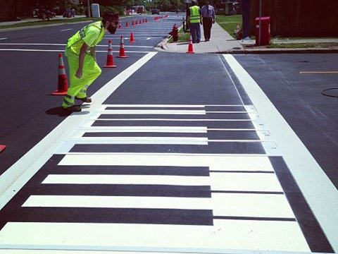 Get tuned up by walking across new piano keys in East Town.
