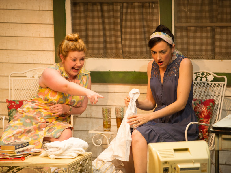 "Lindsey L. Gagliano (left) and Libby Amato star in the first of the two one-acts that make up ""1959 Pink Thunderbird."""