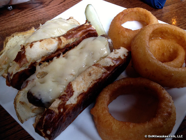 Usinger's brats, pretzel rolls, cheese, sauerkraut and thousand island dressing: the bratwurst reuben. In sets of two.