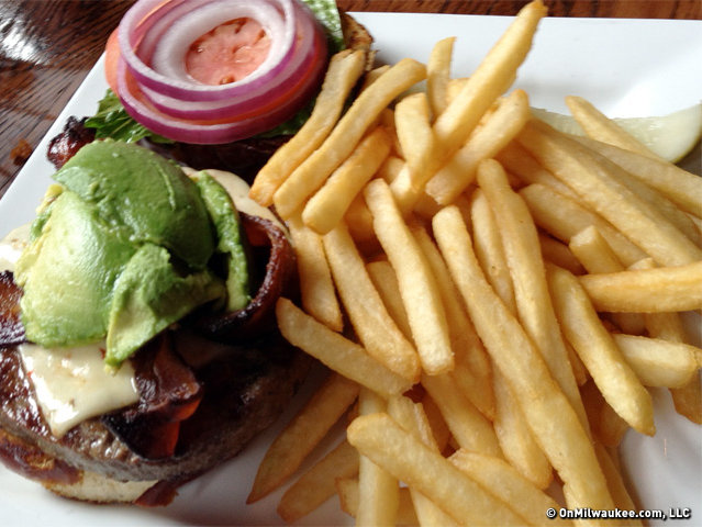 "Andy Tarnoff's ""really, really good"" avocado burger with fries."
