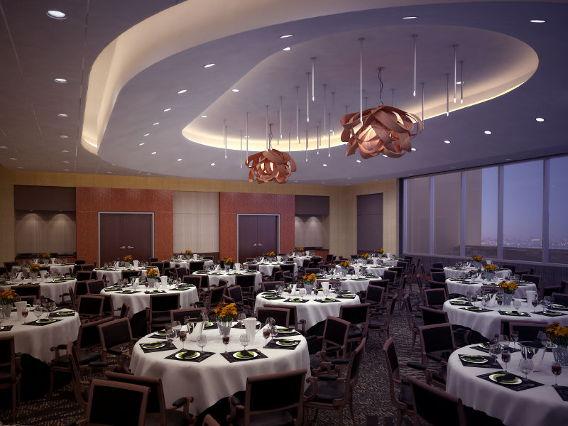 A rendering of the hotel's banquet room.