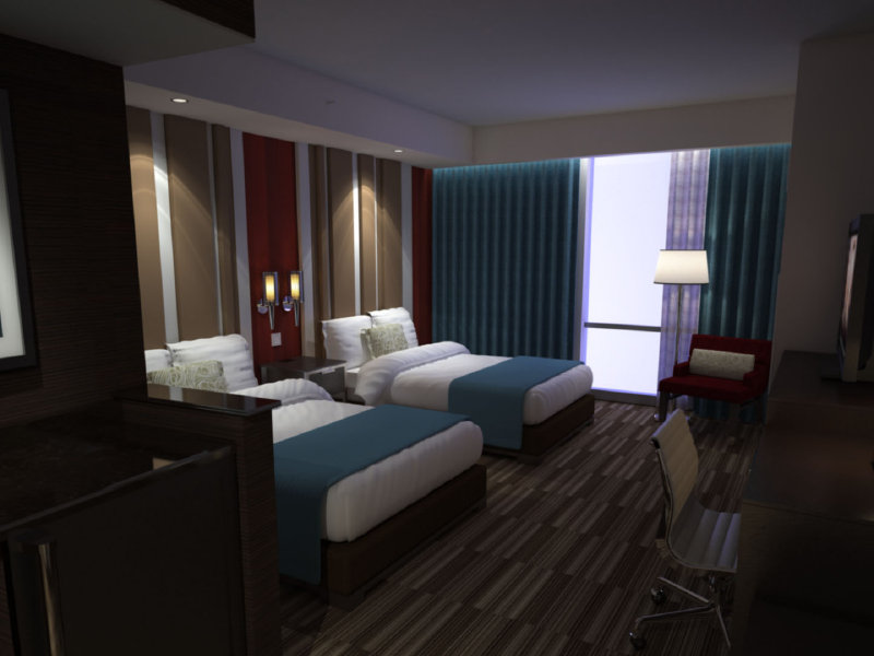 Rendering of a queen suite.