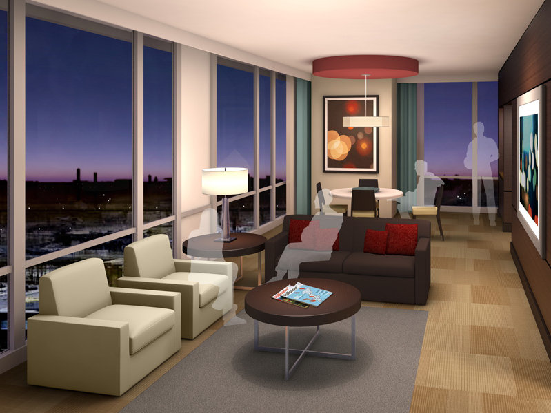 And this is a junior suite, with stunning views out over the city in every direction.