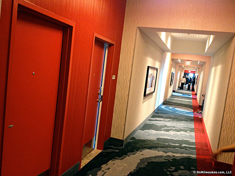 The corridors on the lower floors have more muted colors, but on the top four floors, they're red.