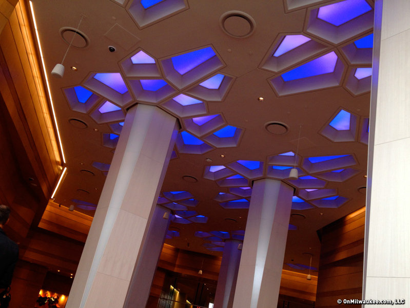 There are bright colors throughout the hotel. These lobby LED lights can change color.