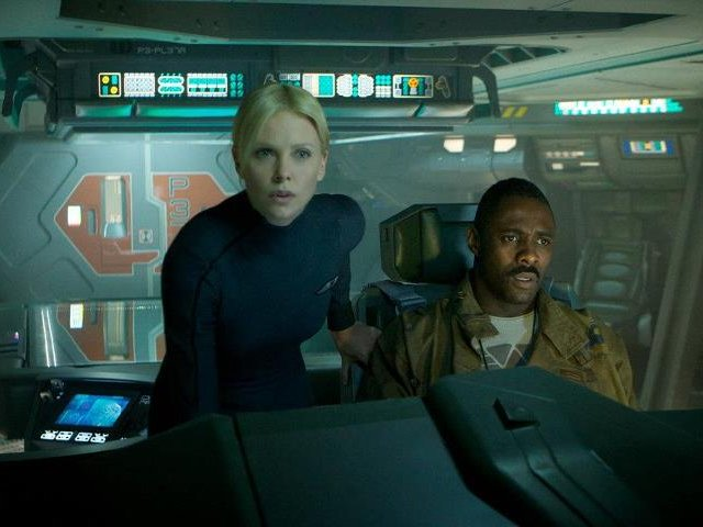 "Charlize Theron and Idris Elba star in ""Prometheus,"" in theaters now."