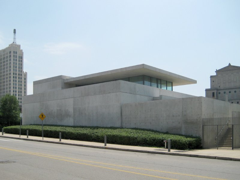 The Tadao Ando-designed Pulitzer Foundation for the Arts building is located in the Grand Central District of St. Louis.