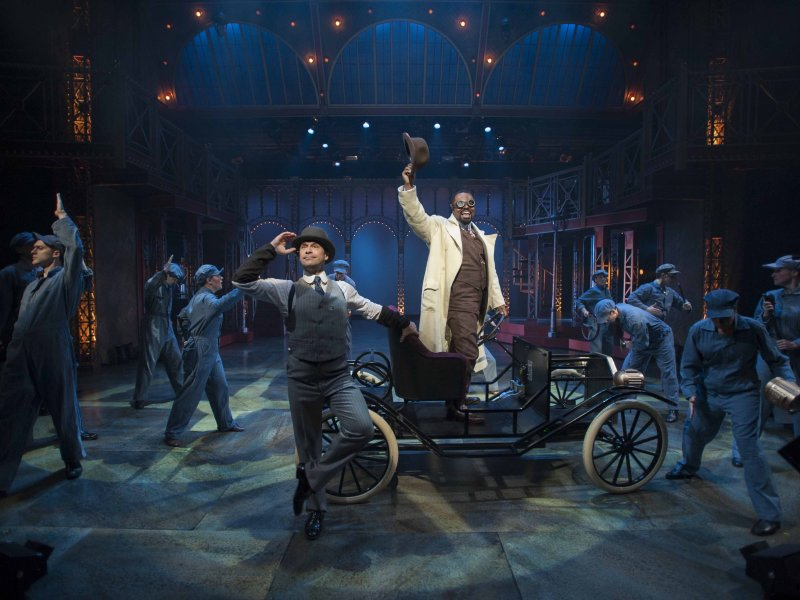 "James Patterson, Gavin Gregory and the cast of the Milwaukee Rep's production of ""Ragtime."""