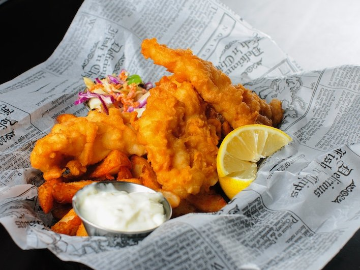 Fish 'n' chips are two-for-one every Monday.