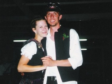 Me and Christina, in all our German dance group glory, back in 1999.