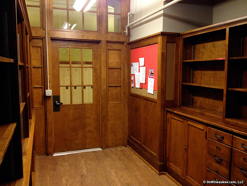 The former library's woodwork has been kept. The space is now a community room.