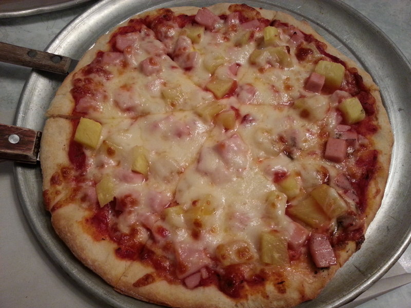 The ham and pineapple pizza.