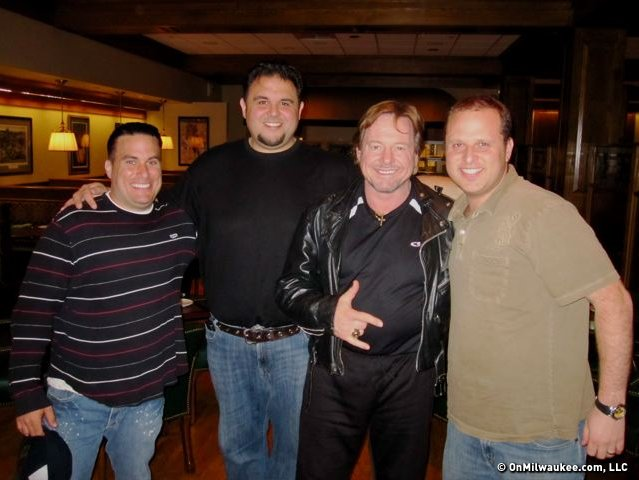 The author (right) with Rowdy Roddy Piper and his crew.