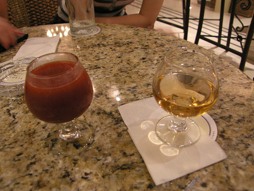 In restaurants, the juice mixture and tequila are served in separate glasses.