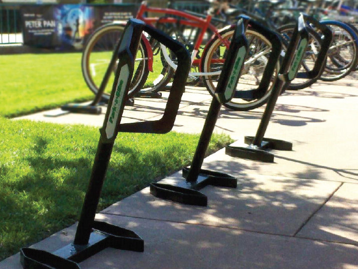 A sample of the new Schlitz Park Varsity Bike Dock Rack system