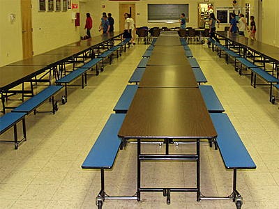 middle school lunch table. plain table one of the lunchtime staff said i should return every day because  usually boisterous boys at our table were extremely wellbehaved today to middle school lunch table g