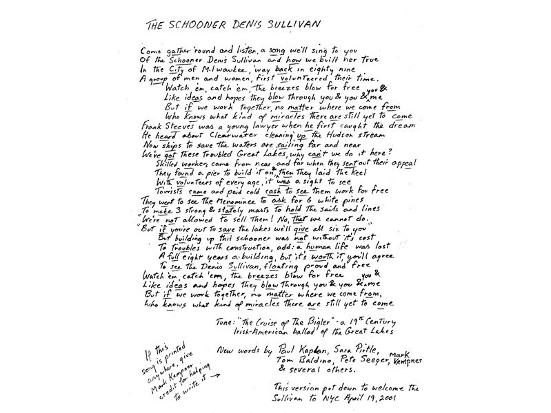 The lyrics to the song survive in this copy, penned by Seeger himself.