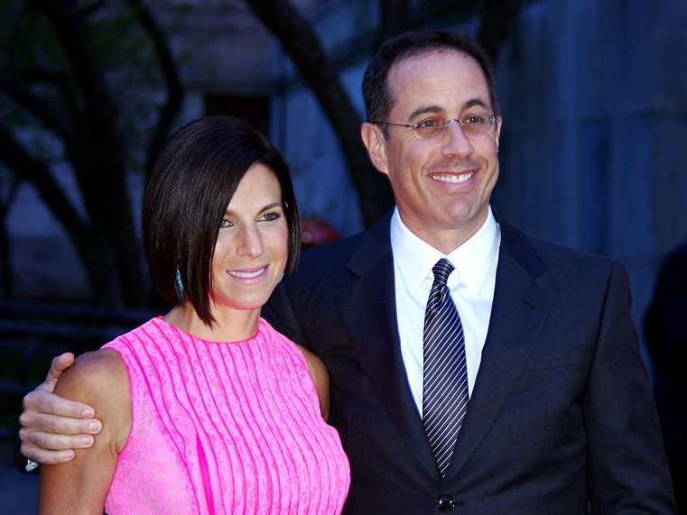 Comedian Jerry Seinfeld, shown here with his wife at a party last year, performed at The Riverside on Oct. 13.
