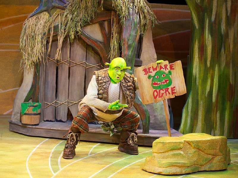 "John Maclay stars as everyone's favorite ogre in First Stage's production of ""Shrek the Musical."""