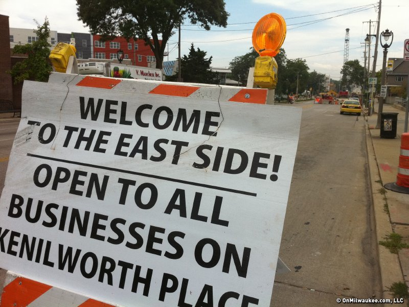 The East Side wants you to know that it's open for business, giant hole or otherwise.