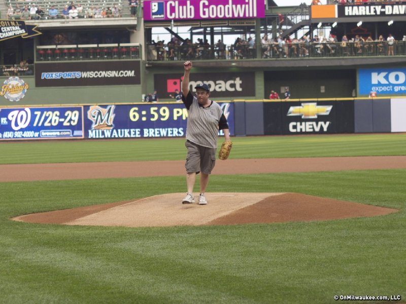Dr. Spencer Block, throwing out the first pitch at a Brewers game last summer.