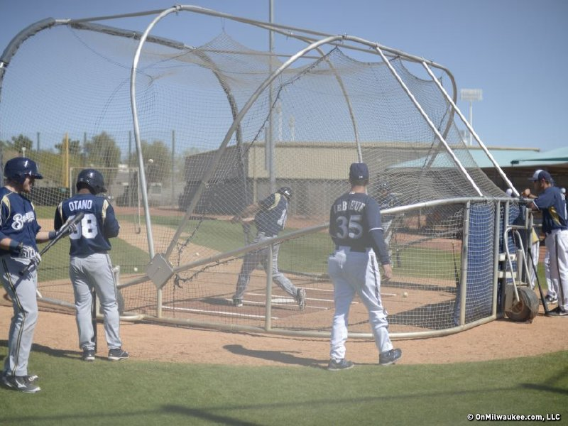 Brewers' minor league players take BP.