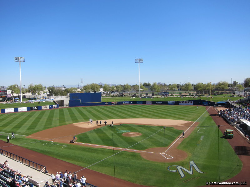 The view from the pressbox at Maryvale Baseball Park.