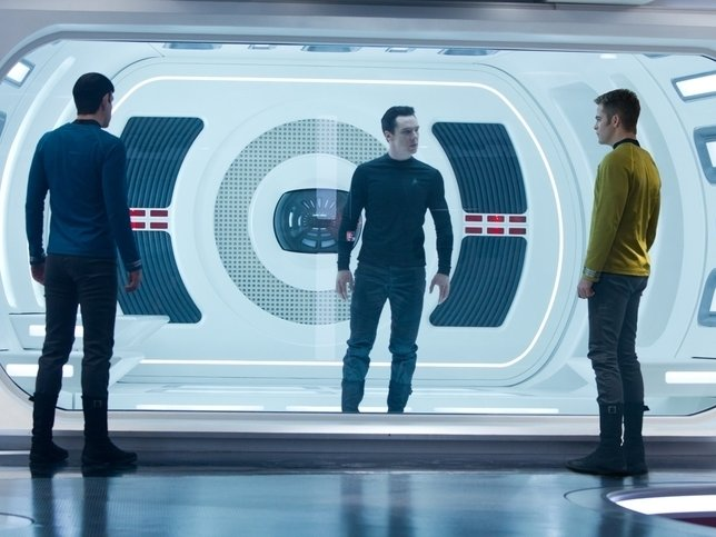 "Chris Pine and Zachary Quinto interrogate Benedict Cumberbatch in ""Star Trek Into Darkness,"" now playing."