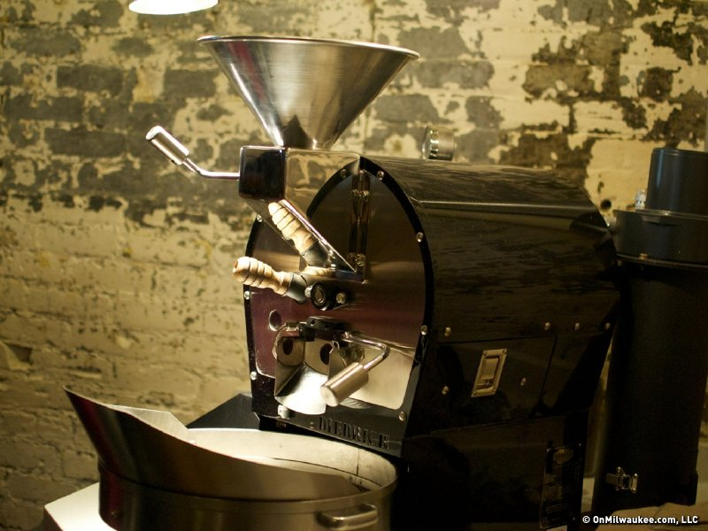 Mini-roaster in the cupping room.