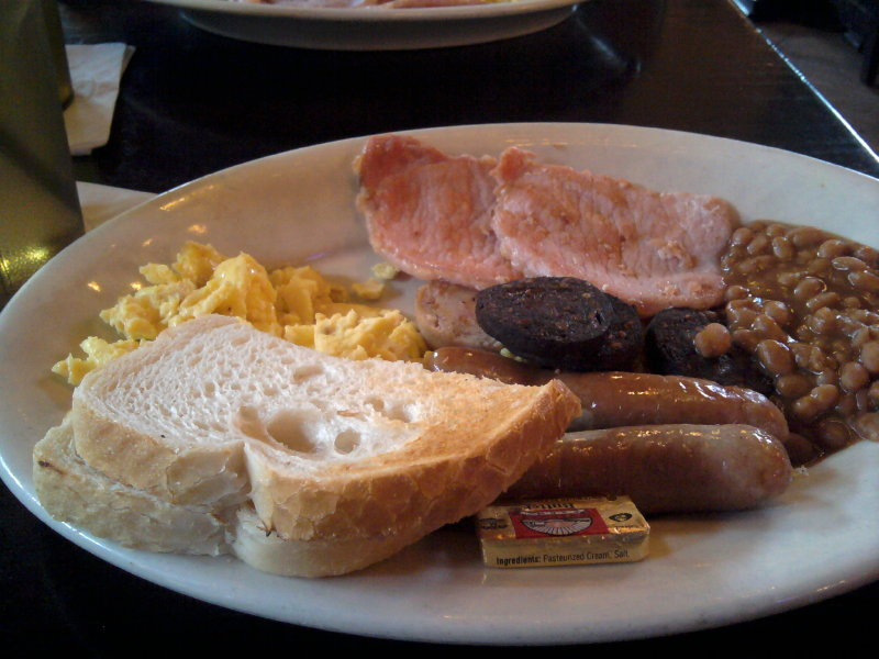 Irish breakfast. Very good; not very vegetarian-friendly.