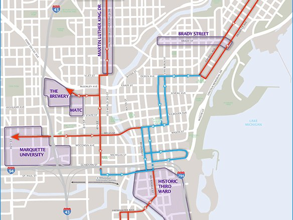 The official Milwaukee streetcar route OnMilwaukee