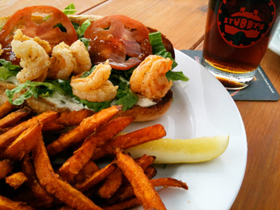 The shrimp po boy and sweet potato fries make for a satisfying lunch at Stubby's.