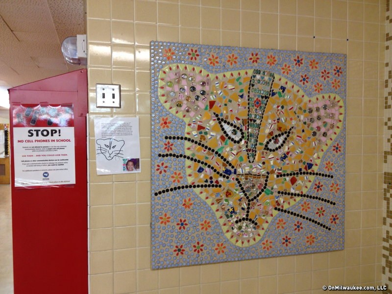 Students designed and helped execute this mosaic at Cooper Elementary.